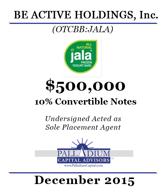 BE ACTIVE HOLDINGS $500K 2015-12