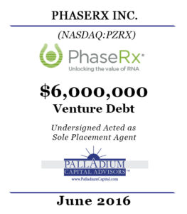 PhaseRx Tombstone (Venture Debt)